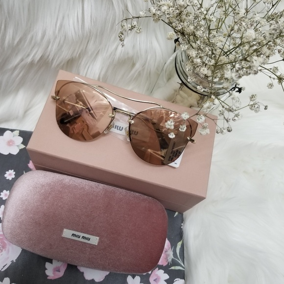 c9d4c883dbec Miu Miu Accessories   62mm Aviator Sunglasses Gold Pink   Poshmark